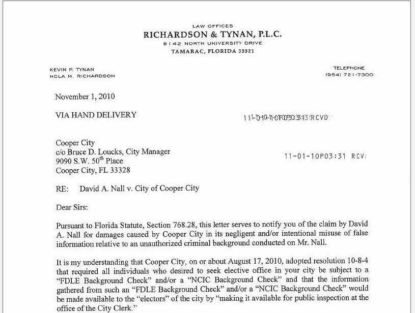 Victim of smear campaign may sue cooper city broward for Intent to sue letter template